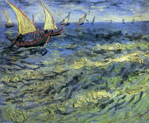 Vincent van Gogh. Seascape at Saintes-Maries (Fishing Boats at Sea)