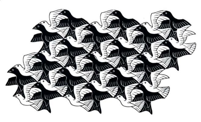 Maurits Cornelis Escher. Regular distribution of plane with birds