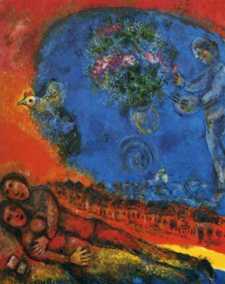 Марк Захарович Шагал. Пара на красном фоне