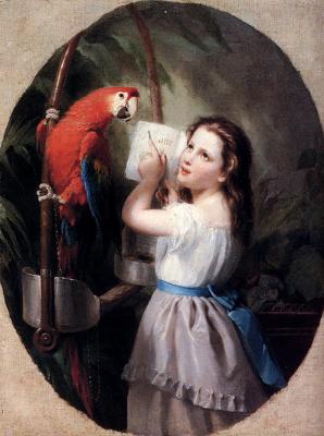 Фриц Зубер-Бюлер. Девочка с попугаем