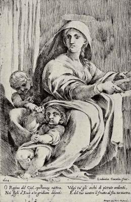 Лодовико Карраччи. Мадонна с младенцем и маленьким Иоанном Крестителем