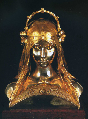 Alphonse Mucha. The girl's head, a statue on the bench of the perfume company, Ubigen at the Paris exhibition of 1900