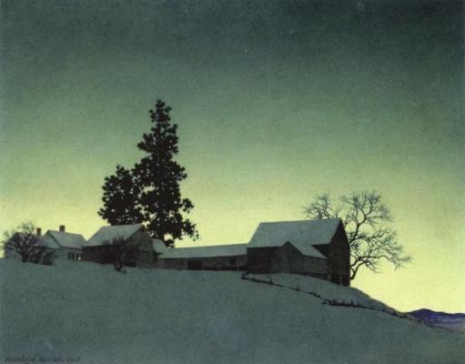 Maxfield Parrish. Winter twilight