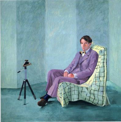 David Hockney. Peter Schlesinger with Polaroid camera