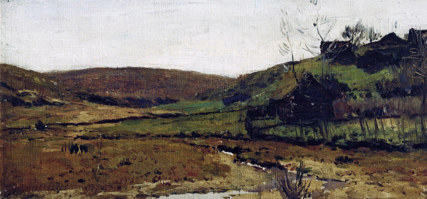 Isaac Levitan. Village. Khotkovo (river Valley)