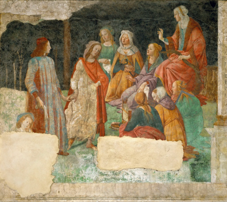 Sandro Botticelli. Lorenzo Tornabuoni before the allegorical figures of the seven liberal arts