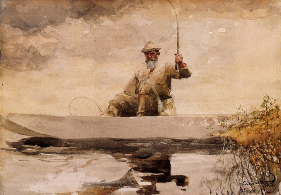 Winslow Homer. Fishing in the Adirondacks