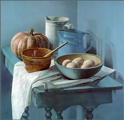 Джейн Лунд. Натюрморт на голубом столе