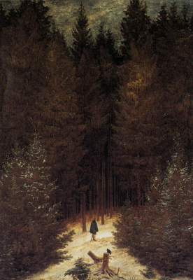 Caspar David Friedrich. Cuirassier in the forest