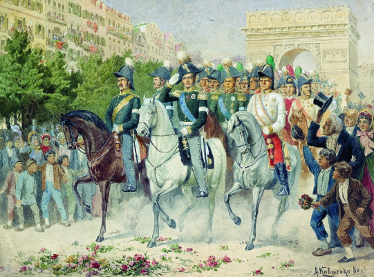 Alexey Danilovich Kivshenko. The entry of Russian and allied forces in Paris. 1880