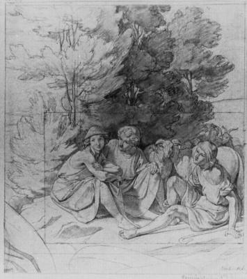 Густав Генрих Неке. Расположившиеся под деревьями пастухи