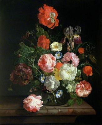 Rachelle Ruysch. Flowers in a glass vase