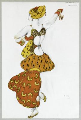 "Лев Самойлович Бакст (Леон Бакст). Одалиска. Эскиз костюма к балету ""Шахерезада"""