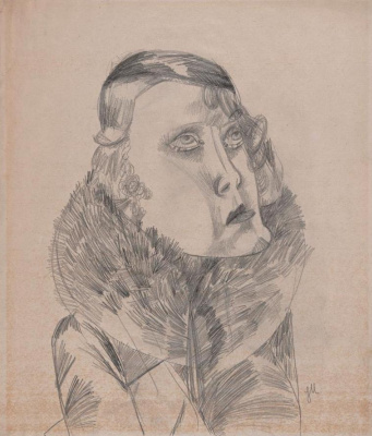 Jeanne Mammen. Woman with fur collar