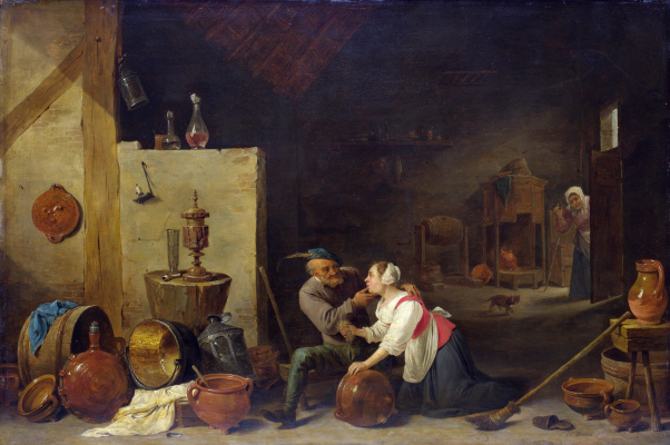 David Teniers the Younger. Old farmer and cook in a stable