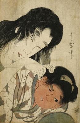 Kitagawa Utamaro. Yamauba cleans ears Kintaro