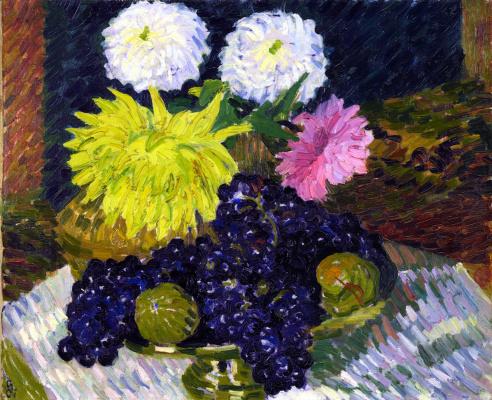Giovanni Giacometti. Dahlias and fruit