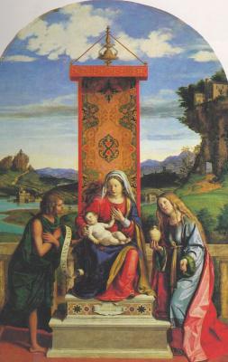 Giovanni Battista Cima da Conegliano. Madonna and child with St. John the Baptist and Mary Magdalene