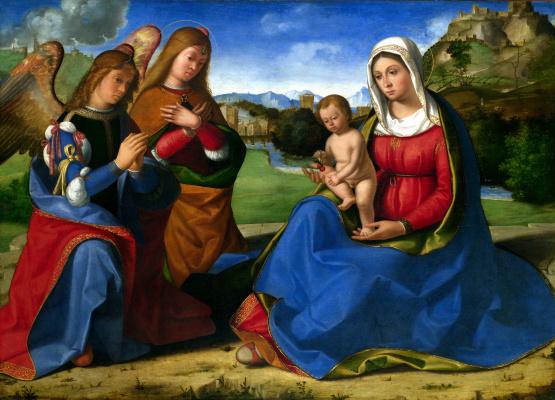 Андреа Превитали. Дева с младенцем и два ангела