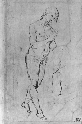 Raphael Sanzio. Naked young man with folded palms
