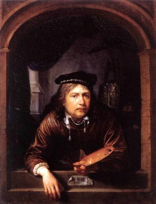Gerrit (Gerard) Dow. Self-portrait in the window