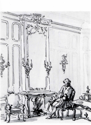 Giovanni Antonio Canal (Canaletto). Venetian interior with a man sitting by the fire