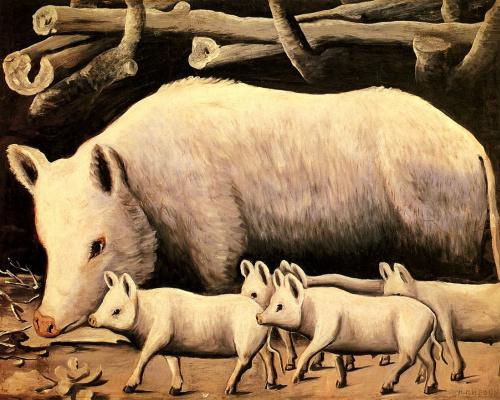 Niko Pirosmani (Pirosmanashvili). White pig with piglets