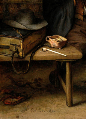 Adrian Jans van Ostade. Vacationers travelers. Fragment. Hat and pipe