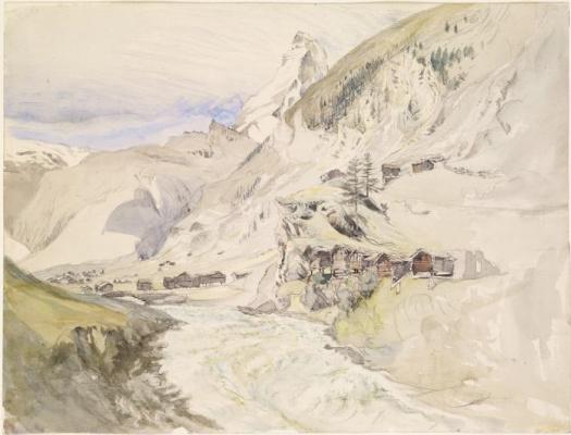 John Ruskin. Alpine valley overlooking Matterhorn peak