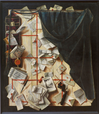 Trompe l'oeil Board with letters and sheet music, separated by a curtain
