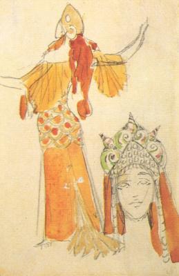 "Mikhail Vrubel. Volkhov. Costume design for Opera of N.. Rimsky-Korsakov's ""Sadko"""