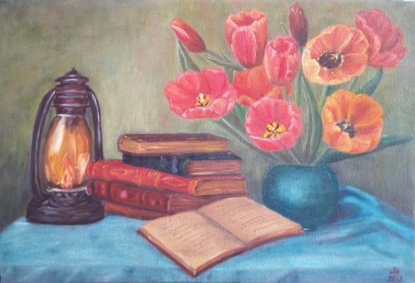 Nataly Yakubovskaya. Still life with tulips