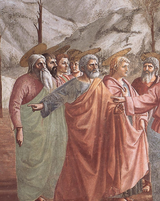 Tommaso Masaccio. Miracle with a statir (Payment of taxes). Fragment: Apostles