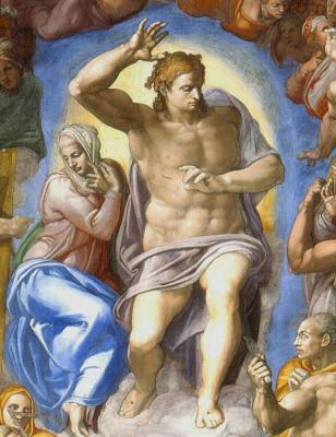 Микеланджело Буонарроти. Страшный суд. Фрагмент: Иисус и Мария