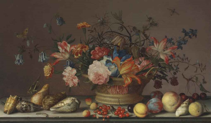Baltazar van der Ast. Still life with flowers in a basket, shells, insects and fruit