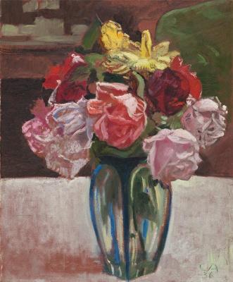 Куно Амье. Натюрморт с розами в стеклянной вазе