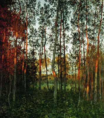 Isaac Levitan. The last rays of the sun. Aspen forest