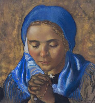Шарль Клосс Олсоме. Молодая девушка на золотом фоне.  золотая краска
