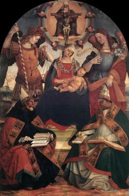 Лука Синьорелли. Троица Богородицы и двух святых