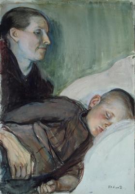 Магнус Энкель. Мать подле спящего ребенка