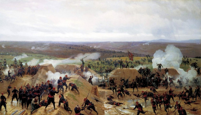 Nikolai Dmitrievich Dmitriev-Orenburg. Grafickeho capture of a redoubt at Plevna