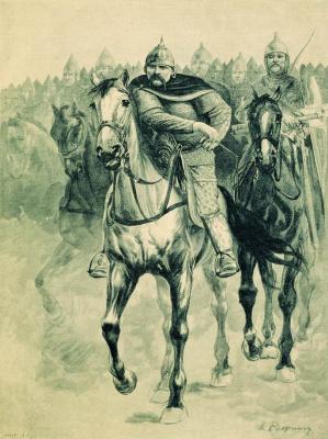 "Andrei Petrovich Ryabushkin. Volga Vseslav'evich. 1895 Illustration for the book ""Russian epic warriors"""