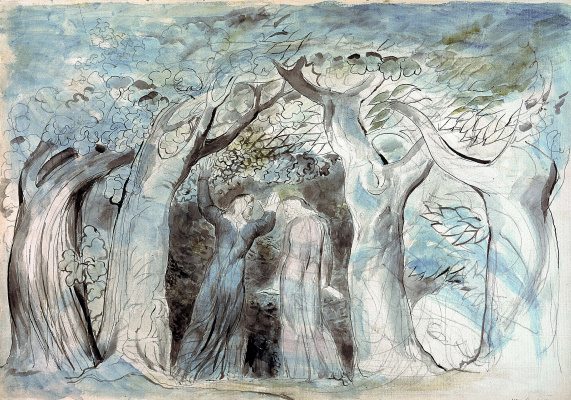 """William Blake. Dante and Virgil enter the forest. Illustrations for """"the divine Comedy"""""""