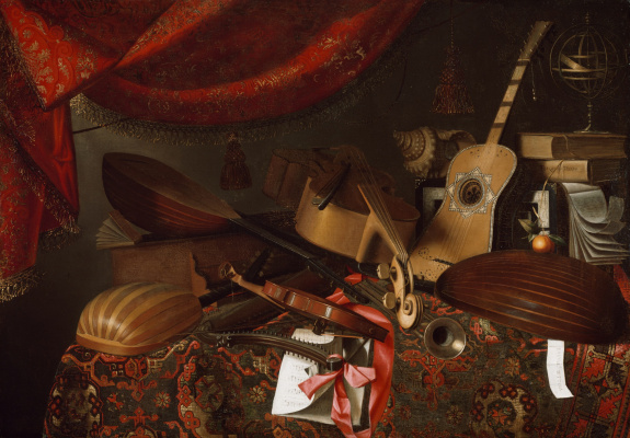 Bartolomeo bettera. Still life with musical instruments