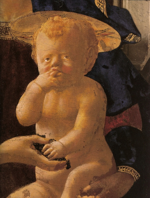 Tommaso Masaccio. Madonna and Child with angels. Fragment. Baby christ