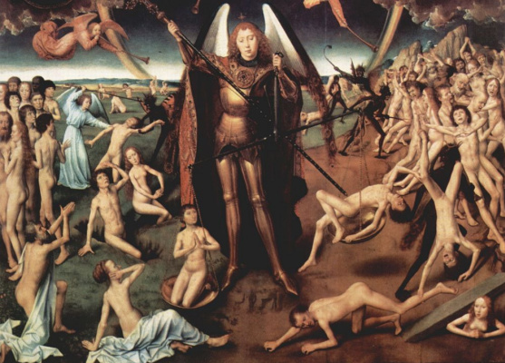 Hans Memling. The last judgment, triptych, Central part of the judging Christ, surrounded by apostles and angels, and the Archangel Michael. Fragment