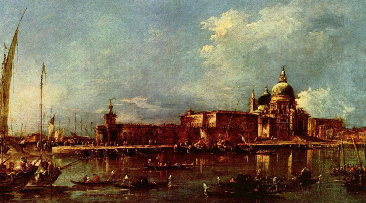 Francesco Guardi. View of Venice with the Church of Santa Maria della Salute and the Customs Building