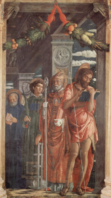 Andrea Mantegna. The altar of the Church of San Zeno in Verona, triptych, right wing. STS. Benedict, Lawrence, Gregory and John the Baptist