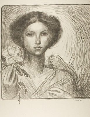 Theophile-Alexander Steinlen. The girl with the flower. The project for the Billboard of the exhibition of French art in Krefeld