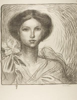 Теофиль-Александр Стейнлен. Девушка с цветком. Проект для афиши выставки французского искусства в Крефельде